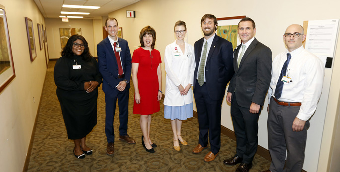 From left are Erica Brice, PhD; David Marcovitz, MD; Hazlett; Katie White, MD, PhD; Charlie Baldwin, JD; Jameson Norton, MBA; and David Edwards, MD, PhD.