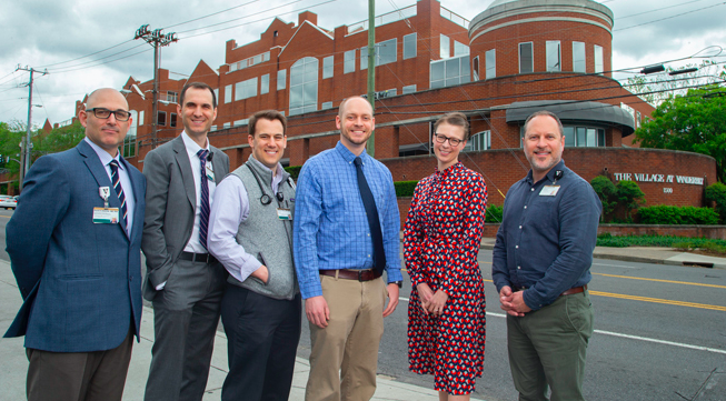 The Addiction Bridge Clinic will be staffed by a multispecialty team, including, from left, David Edwards, MD, PhD, David Marcovitz, MD, William Sullivan, MD, MEd, Cody Chastain, MD, Katie White, PhD, MD, and Jason Ferrell, LCSW. (photo by Frederick Breedon)