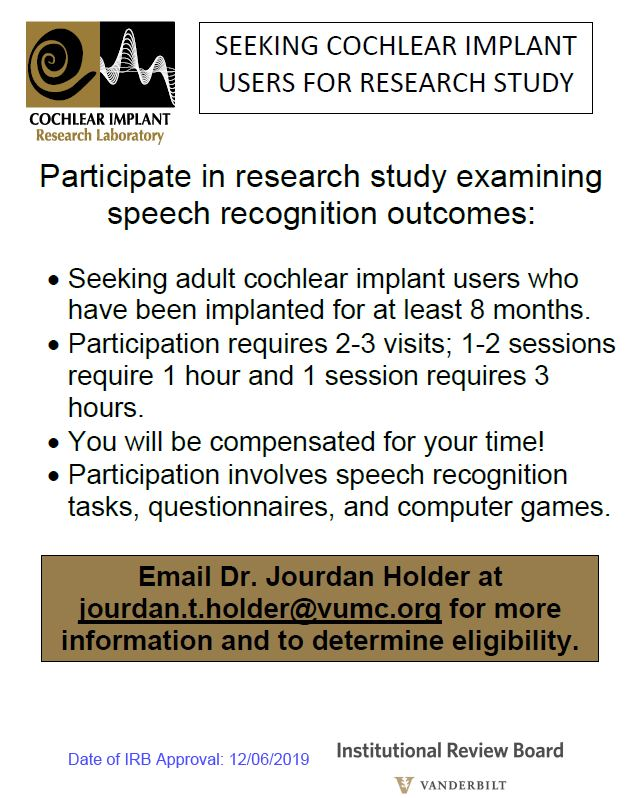 Adult Cochlear Implant Study Information