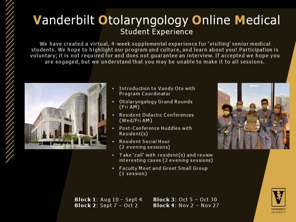 Vanderbilt Otolaryngology Online Medical Student Experience