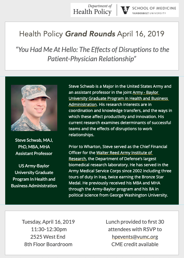 Grand Rounds Poster for April 16, Maj. Steve Schwab