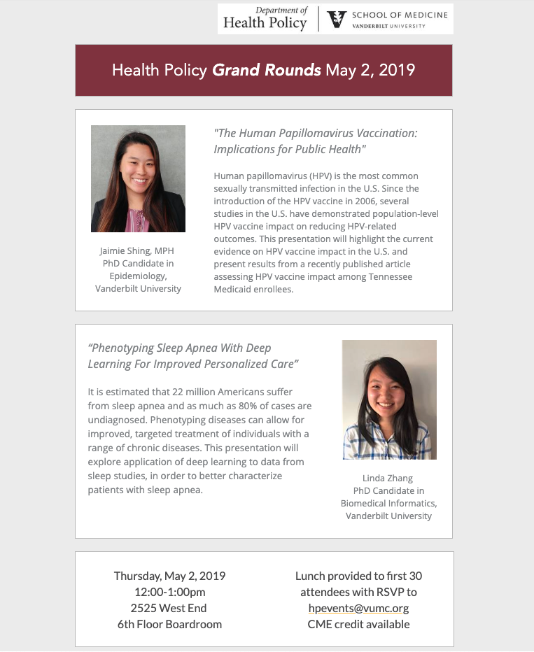May 2 Grand Rounds Poster for Jamie Shing and Linda Zhang