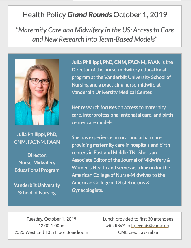 Grand Rounds poster for Oct.1, 2019, Julia Phillippi