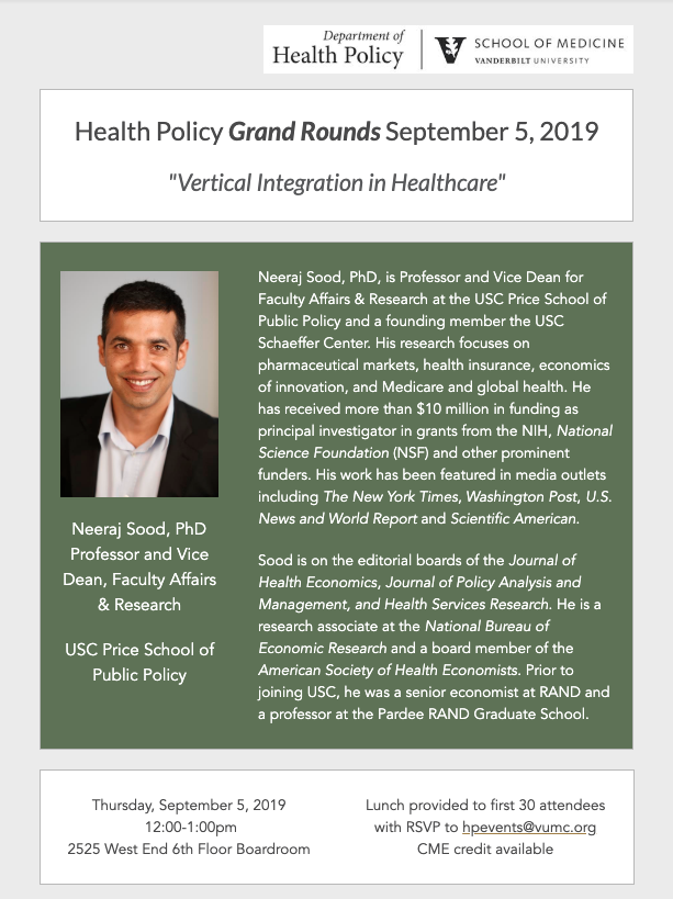 Grand Rounds Poster for Sept. 5, Neeraj Sood, of USC Price