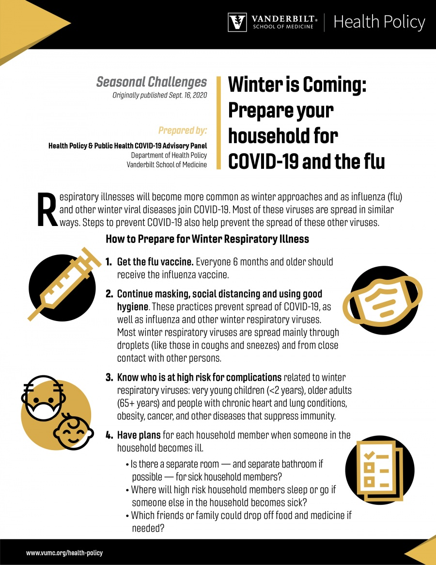 cover of most recent memo on preparing your household for covid-19 and the flu