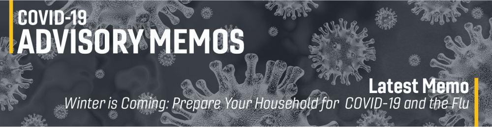 banner image that says the most recent memo is about preparing your household for covid-19 and the flu