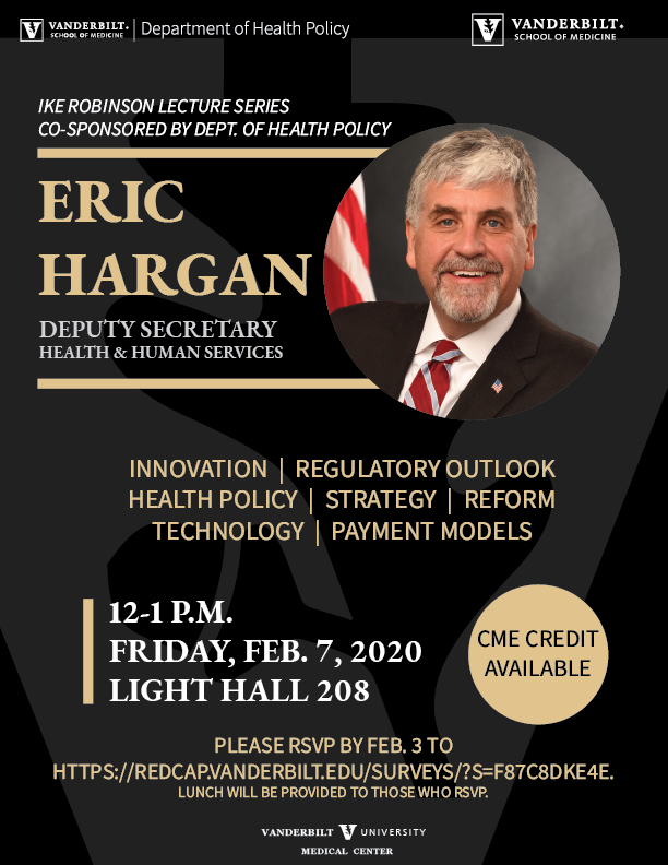 HHS Deputy Secretary Eric Hargan will deliver a guest lecture at VUMC on Feb. 7, 2020.