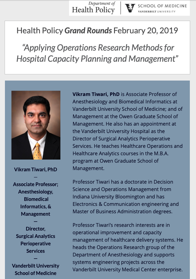 grand rounds flier for vikram tiwari