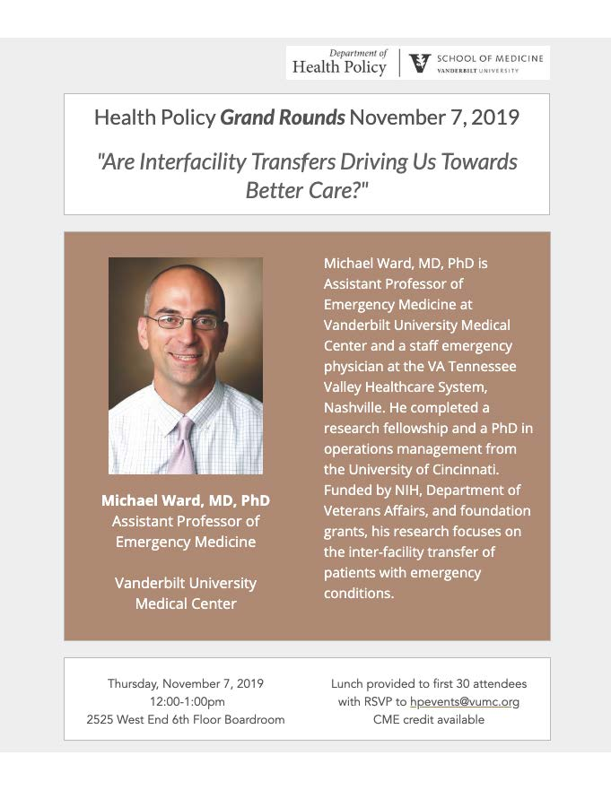 Grand Rounds, Nov. 7, 2019 ft. Dr. Mike Ward