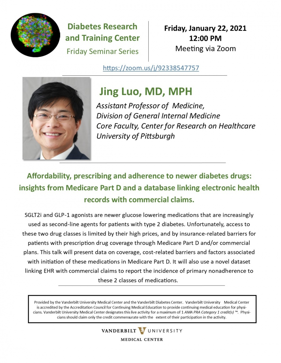 Poster promoting Grand Round from Dr. Jing Luo, on Jan. 22, 2021.