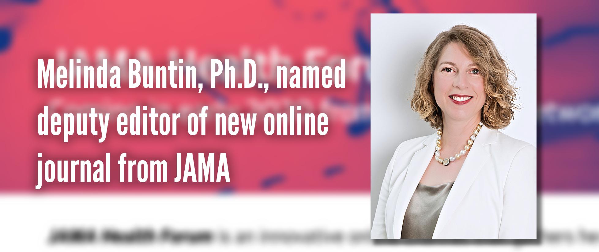 melinda buntin named deputy editor of new journal