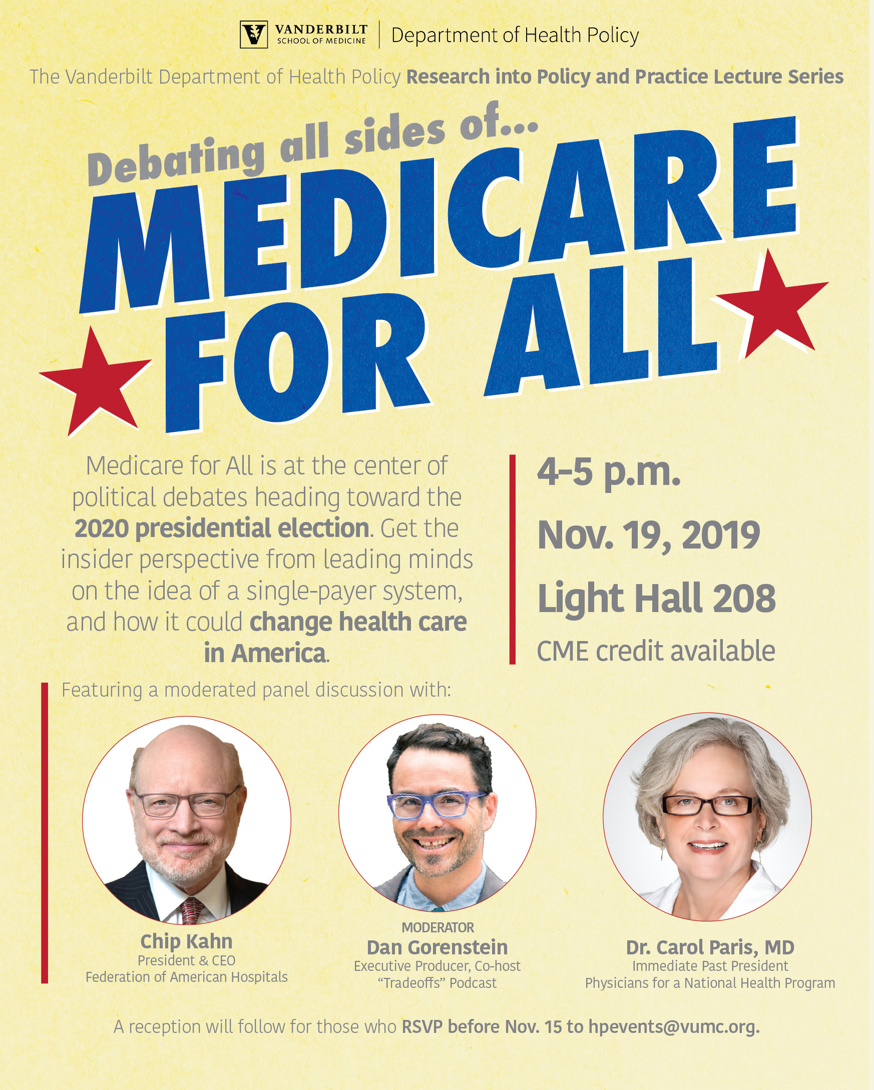 Fall 2019 Research into Policy and Practice Series - Medicare for all