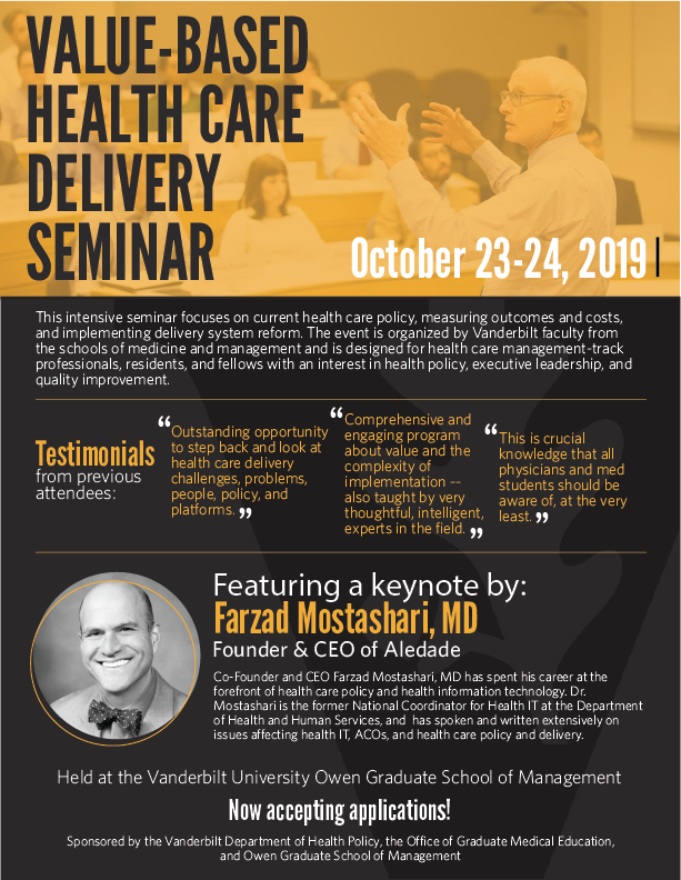 Flyer for Value Based Health Care Delivery Seminar 2019