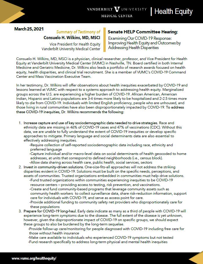 Senate HELP Committee - Consuelo Wilkins testimony