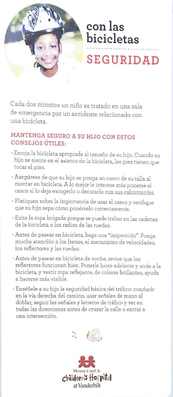 Bike safety for kids spanish