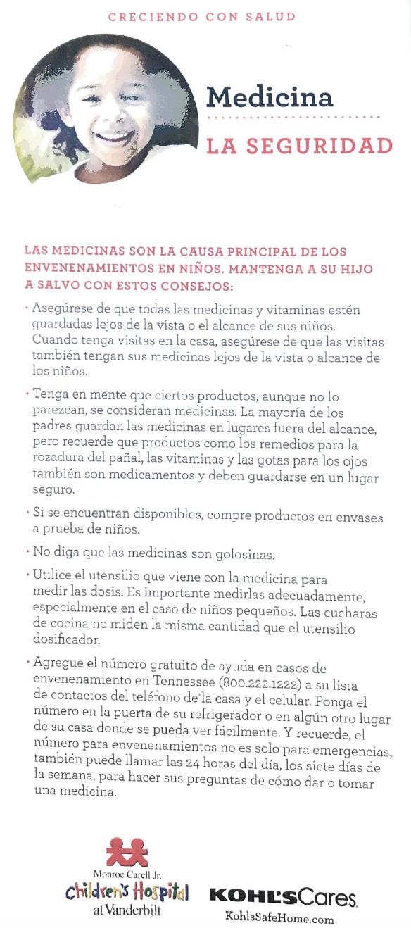 medication safety handout spanish