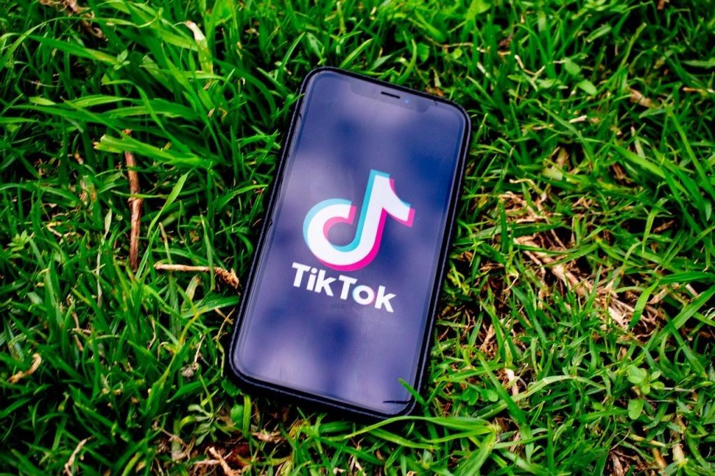 tik tok app on phone in grass