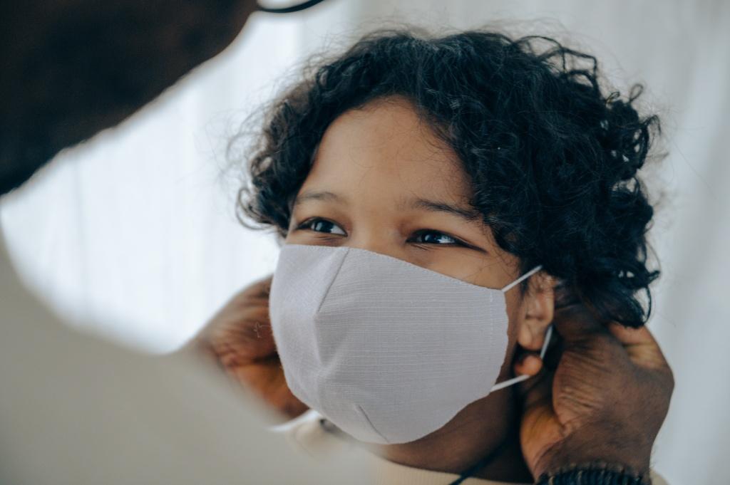 Child wearing facial mask