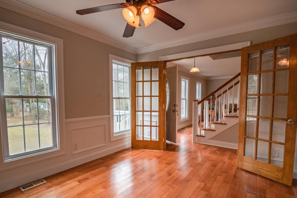 Windows and open doors in house