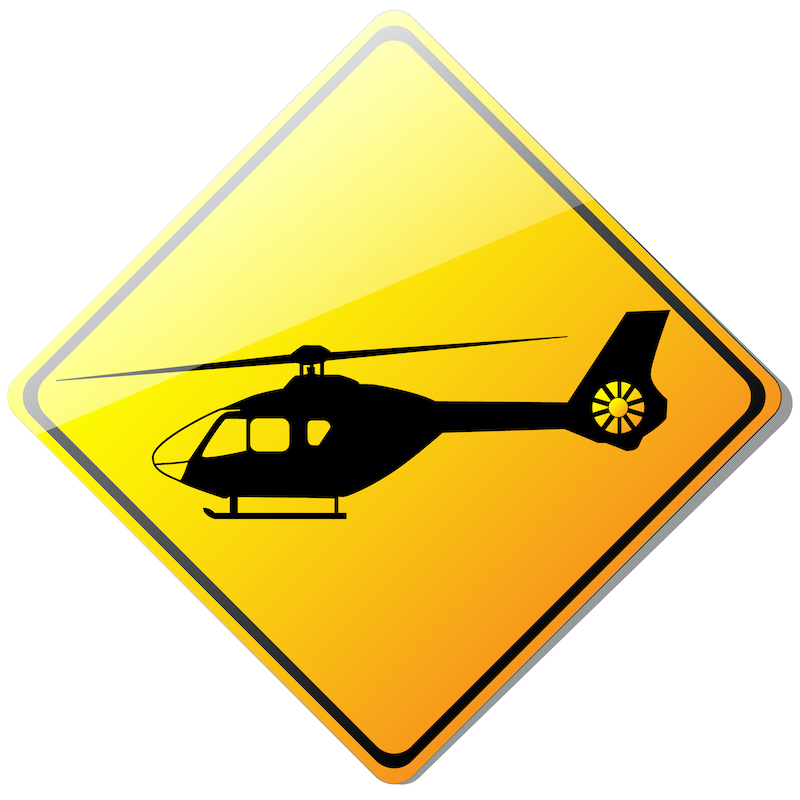 Yellow Helicopter sign