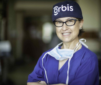 Dr. Wayman working with ORBIS
