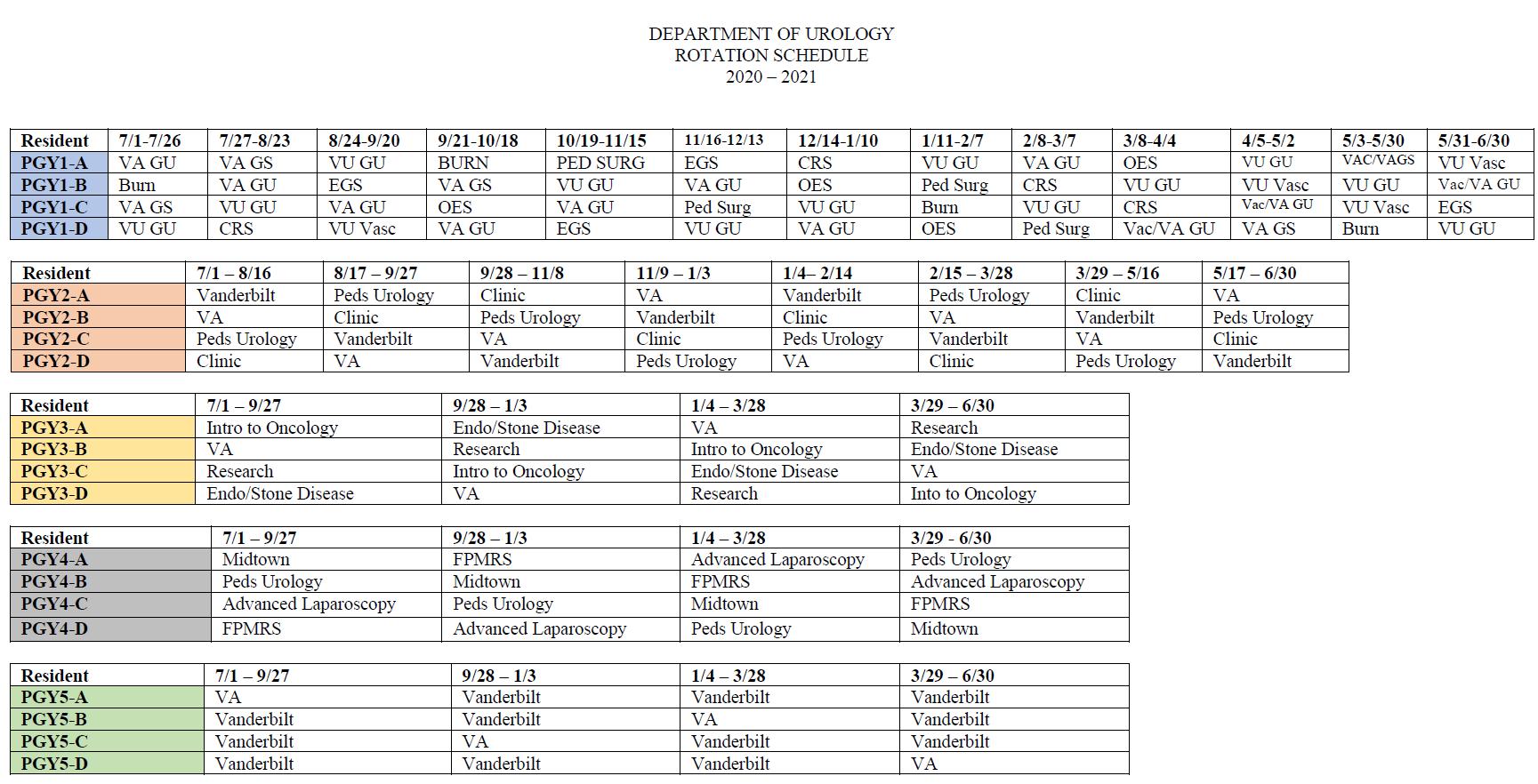 Resident Schedule 2020-2021