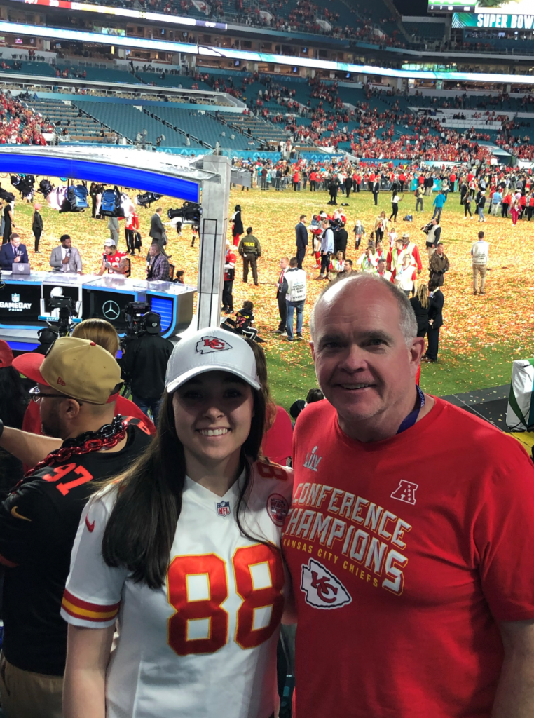 Christy and dad at chiefs game