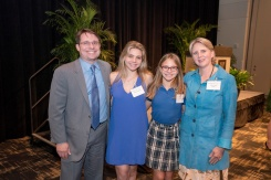 Dr. Freiberg, pictured with daughters and Dr. Tindle (wife), accepts the Dorothy and Laurence Grossman Chair in Cardiology
